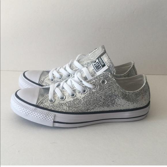 2a29ab9f824d Converse Silver Glitter Chuck Taylor All Star Ox
